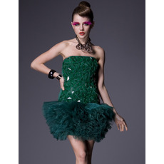Chic Column Short Holiday Dresses/ 2015 Green Strapless Homecoming Dresses
