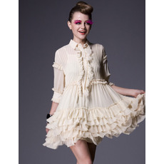 Inexpensive Chiffon Short Holiday Dresses/ Casual Sleeves Tiered Homecoming Dresses