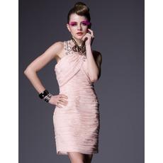 2015 Pleated Short Holiday Dresses/ Designer Pink Column Homecoming Dresses