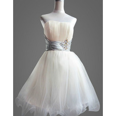 Affordable A-Line Strapless Short Tulle Homecoming/ Party Dresses