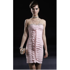 Designer Tiered Short Holiday Dresses/ Discount Column Pink Homecoming Dresses