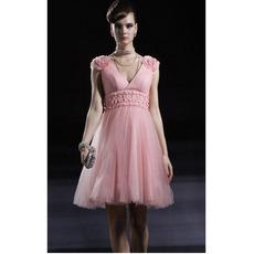 Pink Floral Short Cocktail Dresses/ A-Line V-Neck Organza Party Dresses