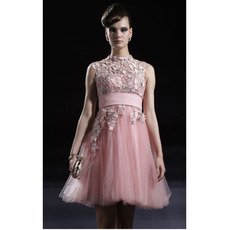 Designer Pink Applique Short Cocktail Dresses/ A-Line Organza Party Dresses