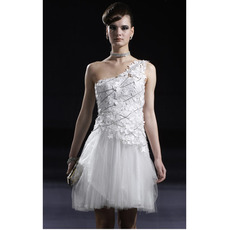 Applique White Short Cocktail Dresses/ One Shoulder Organza...