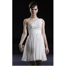 One Shoulder Short Cocktail Dresses/ A-Line White Chiffon Party Dresses