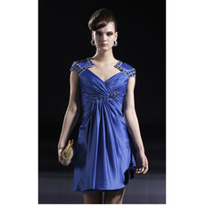 Royal Blue Short Cocktail Dresses/ Sheath V-Neck Satin Party Dresses