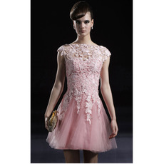 Applique Pink Short Cocktail Dresses/ A-Line Organza Party Dresses