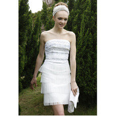 Tiered Sheath Short Cocktail Dresses/ Strapless Organza Party Dresses