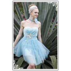 Blue Sweetheart Short Cocktail Dresses/ Sheath Applique Organza Party Dresses