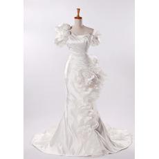 Fall One Shoulder Mermaid Wedding Dresses/ Affordable Taffeta Church Bridal Gowns