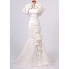 Sexy Organza Mermaid Wedding Dresses/ Fall Floor Length Church Bridal Gowns