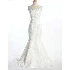 Sexy One Shoulder Mermaid Wedding Dresses/ Fall Applique Satin Church Bridal Gowns