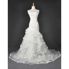 Discount Organza Mermaid Wedding Dresses/ Elegant Floor Length Church Bridal Gowns