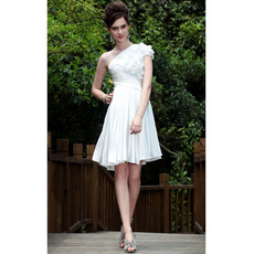 Discount Stylish A-Line One Shoulder Satin Pleated Short Wedding Dresses/ Bridal Dresses