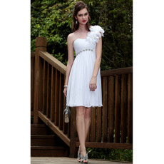 Affordable Custom Empire One Shoulder Chiffon Floral Short Wedding Dresses/ Bridal Dresses