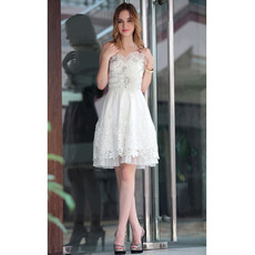 Top Custom A-Line Sweetheart Organza Knee Length Short Wedding Dresses/ Bridal Dresses