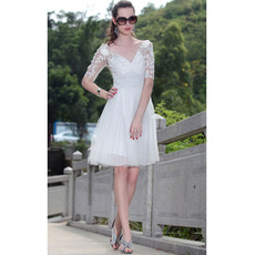 Top Stylish A-Line V-Neck Organza Knee Length Short Wedding Dresses/ Bridal Dresses