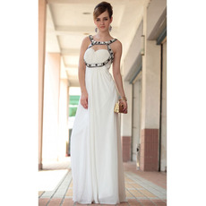 Affordable Custom Sheath Round Neck Floor Length Chiffon Wedding Dresses