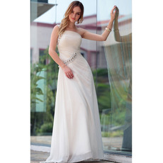 Custom Sheath One Shoulder Floor Length Chiffon Wedding Dresses