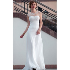 Discount Elegant Sheath Round Neck Floor Length Chiffon Wedding Dresses