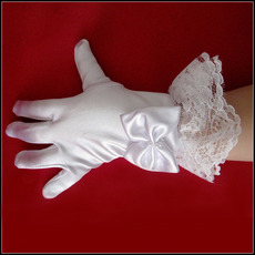 Wrist Elastic Satin Lace White Flower Girl/ First Communion Gloves