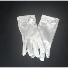 Wrist Elastic Satin White Flower Girl/ First Communion Gloves