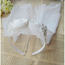 White Organza Flower Girl Veils with Bows