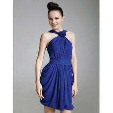 Chiffon Satin Sheath/ Column Straps Short/ Mini Cocktail Dresses inspired by Ginnifer Goodwin at Golden Globe