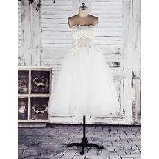 Affordable A-Line Strapless Organza Short Reception Wedding Dresses