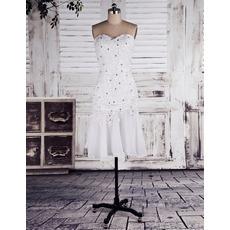Discount Sweetheart Mermaid Beaded Short Petite Wedding Dresses