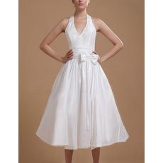 Sexy Taffeta Halter A-Line Tea Length Reception Wedding Dresses