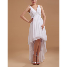 Inexpensive Sexy Empire V-Neck Chiffon High-Low Wedding Dresses