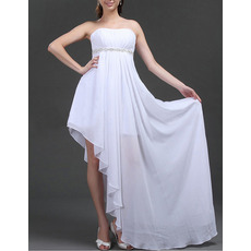 Discount Sexy Empire Strapless Chiffon Asymmetric Wedding Dresses