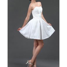 Summer A-Line Sweetheart Taffeta Short Beach Wedding Dresses
