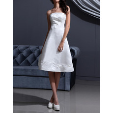 Affordable A-Line Strapless Satin Short Reception Wedding Dresses