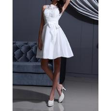 Discount Fashionable A-Line Satin Short Reception Wedding Dresses
