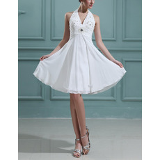 Summer Empire Halter Chiffon Short Reception Wedding Dresses