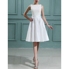 Inexpensive Custom A-Line Taffeta Lace Short Reception Wedding Dresses