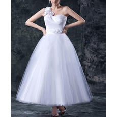 2014 Spring A-Line One Shoulder Tea Length Wedding Dresses