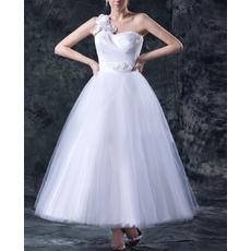 Spring A-Line One Shoulder Tea Length Wedding Dresses