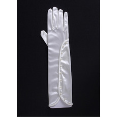 Elbow Jersey Ivory Wedding Gloves with Beads