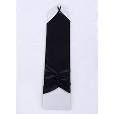 Wrist Jersey Black Wedding Gloves with Beads