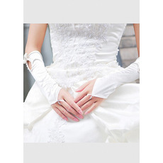 Elbow Satin White Wedding Gloves with Bows