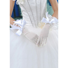Elbow Yarn Ivory Wedding Gloves with Bows