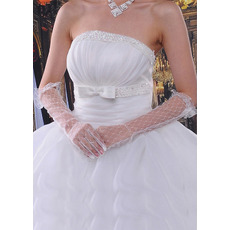 Elbow Voile Ivory Wedding Gloves