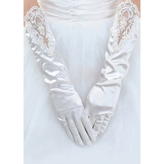 Elbow Satin Ivory Wedding Gloves