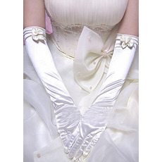 Elbow Satin Ivory Wedding Gloves with Bows