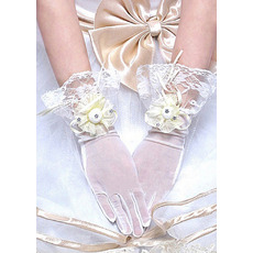 Wrist Lace Ivory Wedding Gloves with Flowers