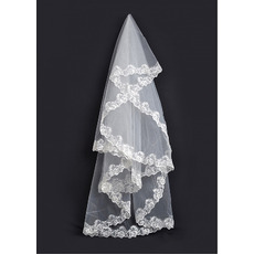 1 Layer Chapel with Applique Ivory Wedding Veils