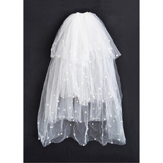 4 Layers Elbow with Beads Ivory Wedding Veils